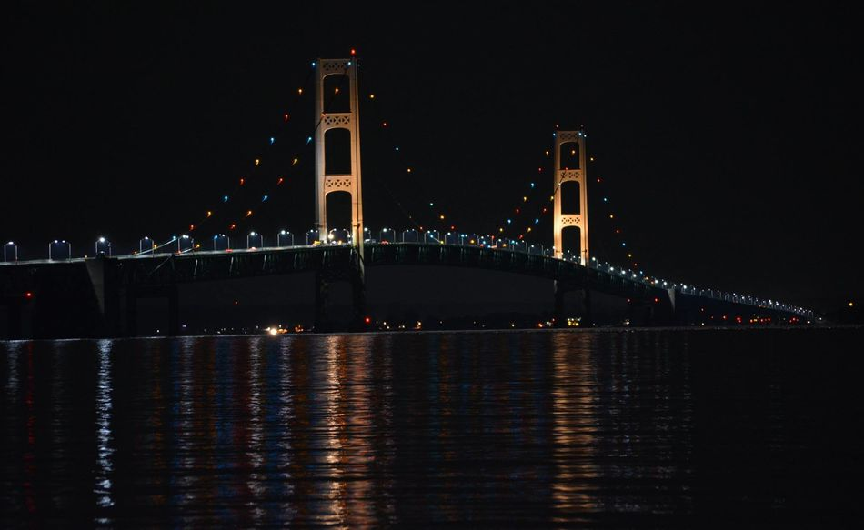 Mackinaw Bridge at night in Michigan Lights Mackinac Bridge Mackinaw City, MI Michigan Night Life Pure Michigan Straits Of Mackinac Architecture Bridge Bridge - Man Made Structure Built Structure City Connection Illuminated Light Night Night Sky No People Outdoors Reflection Sky Transportation Travel Destinations Water Waterfront