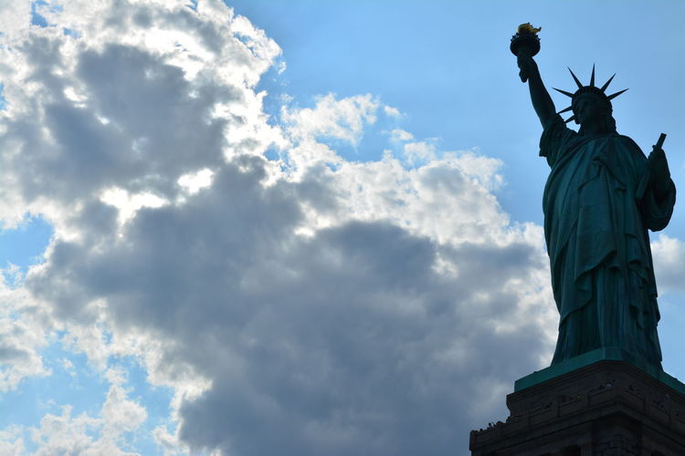 Liberty Postcard Poster Statue Statue Of Liberty USAtrip Architecture Art And Craft Cloud - Sky Craft Day Female Likeness Human Representation Low Angle View Monument No People Outdoors Postcard Picture Postcards Sculpture Sky Statue Travel Destinations