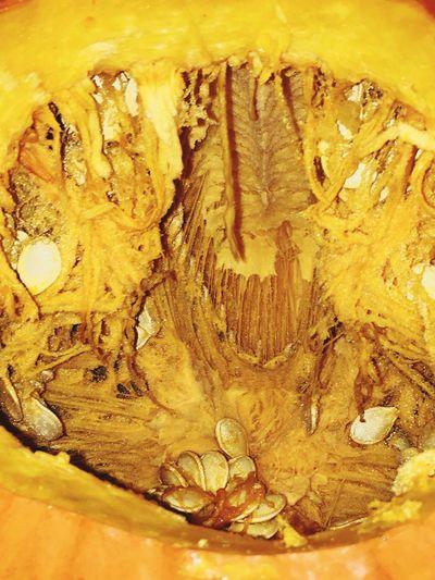 Yellow Full Frame Backgrounds Close-up Textured  Indoors  No People Pumpkin Guts Pumpkin Pumpkin Seeds Pumpkin Carving