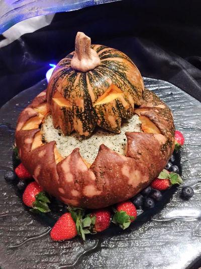 High angle view of dessert