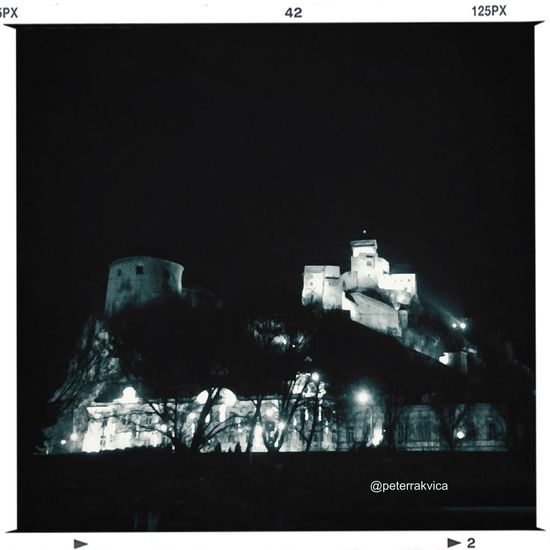 Trencin Castle Castle #trencin City #town #center #blackandwhite Night #snapseed #iphonephoto Iphonephotography