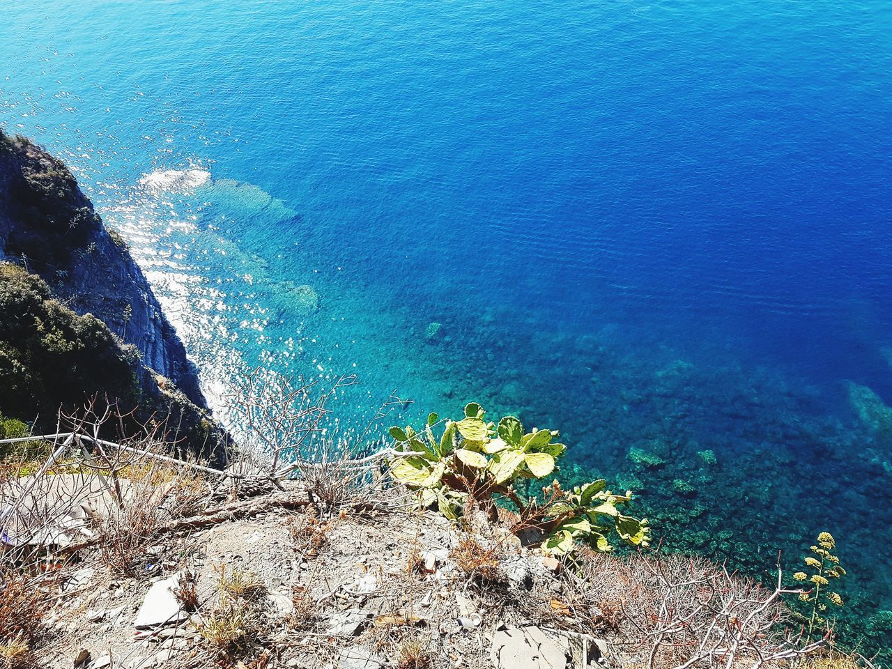 HIGH ANGLE VIEW OF ROCKS AND SEA
