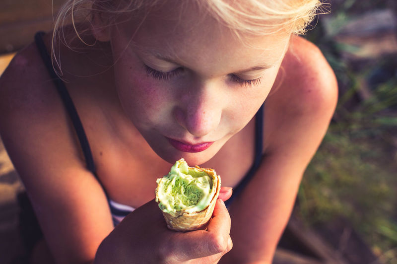 enjoy Ice Cream Enjoying Life Food Stories One Person Summer Vegetable People Young Adult Healthy Lifestyle Healthy Eating Child One Young Woman Only Blond Hair Holding Close-up Outdoors Freshness Food