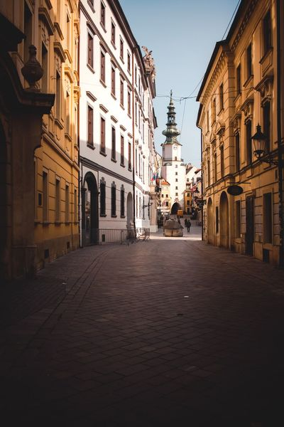 Architecture Building Exterior Built Structure The Way Forward Street Clear Sky Road No People Day Outdoors City Sky Bratislava Bratislava, Slovakia Slovakia Old Town Oldtown Old Architecture Old Buildings Streetphotography Street Photography Streetphoto_color Streetphoto Street Photo Church