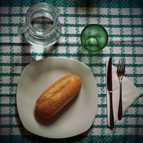 High angle view of bread loaf on table