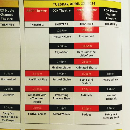 Tuesday, April 12th PhoenixFilmFestival screening schedule! PFF2016