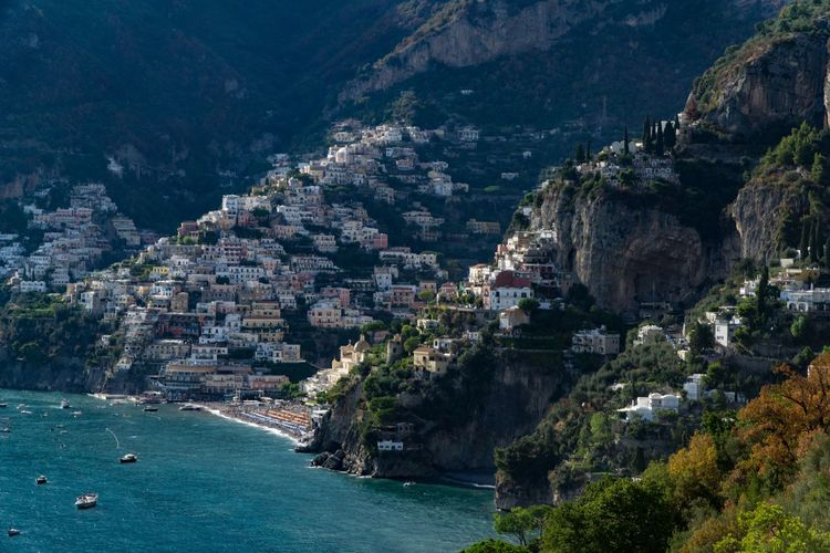 Amalfi coast Positano Water Architecture Built Structure Tree Nature Plant Sea Land City Building Transportation Scenics - Nature Travel Building Exterior Nautical Vessel High Angle View Travel Destinations Mountain No People Outdoors