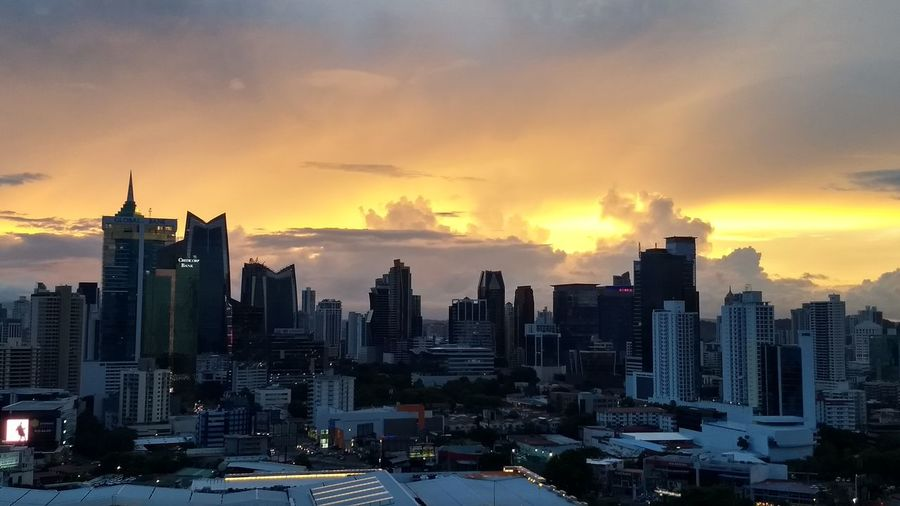 Sunset in panama city Skyline PanamaCity Cityscape Sunset Skyscraper Sky No People Illuminated Urban Skyline Dramatic Sky City Cloud - Sky