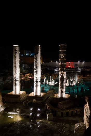View of Serapide Temple in Pozzuoli by Night Architectural Column Architecture Bay Of Naples, Italy. Building Exterior Built Structure Illuminated Long Exposure Monument Nature Night No People Outdoors Pozzuoli Serapeo, Serapide, Sky Water