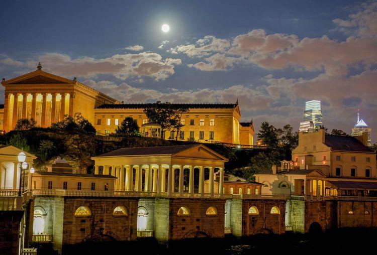 Illuminated philadelphia museum of art against sky at night