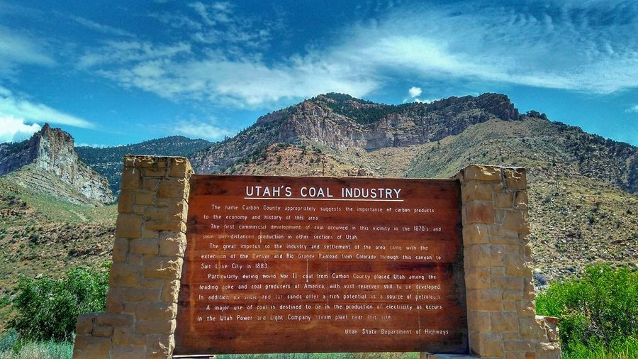 Public Landmark...Utah's Coal Industry... Text Mountain No People Sky Outdoors Day Architecture Nature Public Landmark Utah Exploration Arid Climate Wild West Rock - Object Power In Nature Nature EyeEm Gallery EyeEm Gallery Nature_collection Communication Utah Mountains Sommergefühle Public Land Landmark Public Space Public Places
