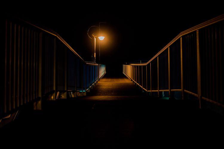 Light Darkness Dark Illuminated Night The Way Forward Lighting Equipment Railing No People Street Light