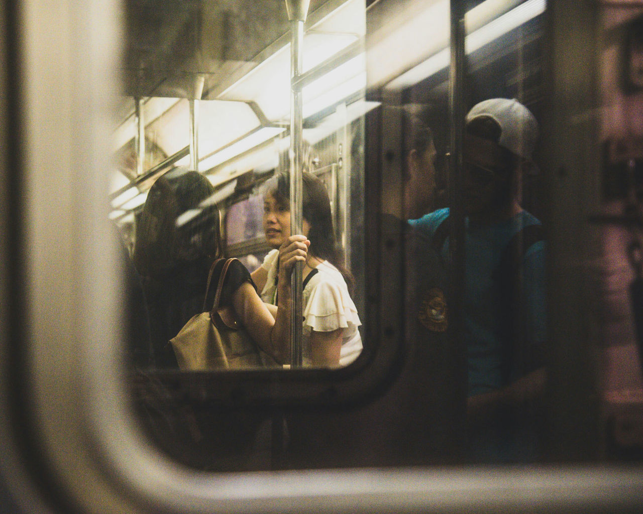 indoors, window, public transportation, men, real people, day, people