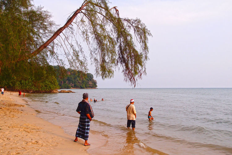 father and son on beach, swimming Swimming Trees Beach Beauty In Nature Childhood Day Group Of People Horizon Over Water Land Leisure Activity Lifestyles Men Nature Outdoors Real People Rear View Scenics - Nature Sea Sky Togetherness Tree Trees On Beach Water Waves Women