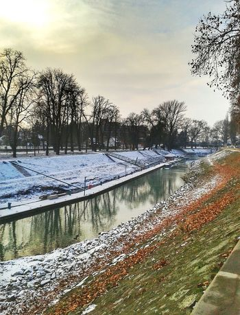 EyeEm Nature Lover EyeEm Best Shots Nature Beauty Esztergom Hungary Danube Duna Reflections In The Water River Clouds Reflection Leaf Autumn Autumn colors Water Tree Snow Cold Temperature Winter Sky Tranquility Tranquil Scene Calm Idyllic Snow Covered Shore