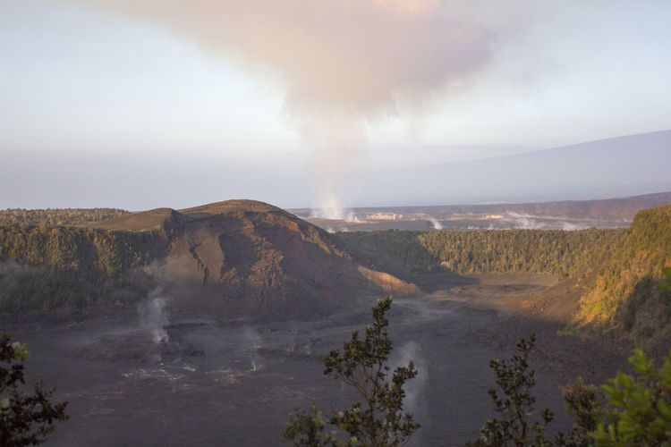Beauty In Nature Day Emitting Erupting Forest Fire Geology Hot Spring Landscape Mountain Nature No People Outdoors Physical Geography Power In Nature Scenics Sky Smoke - Physical Structure Steam Tranquility Volcanic Landscape Water