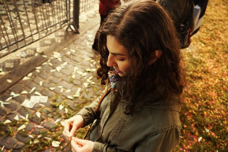 Santo Cristo May Springtime Curly Curly Hair Catholic Religious Place Santo Cristo Bazaar Procession EyeEm Selects Close-up Fall Leaves Denim Jacket Leaf Fallen Leaf Thoughtful Denim Wearing Growing