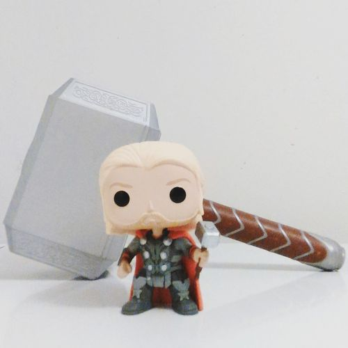 Human Representation Indoors  Still Life Childhood Model - Object Funkofunatic Creativity Close-up Man Made Object White Background Funkopopaddict Beauty Funko Pop Vinyl Thor  Thorhammer Mjolnir Imagination Funkopopvinyl Funko Toy Vibrant Color Amazing Front View Funkofan Collection