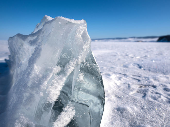 Close-up of ice on snow covered land