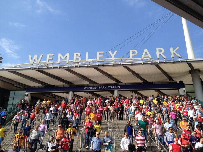 FA Cup FA Cup Final Underground Wembley Wembley Park Crowd Event Large Group Of People Outdoors Sky