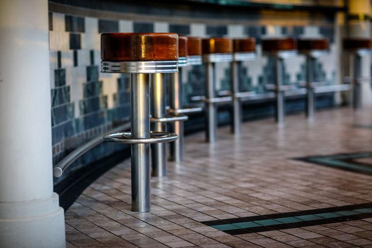 Close-up of bar stools