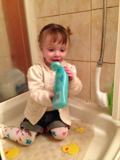 Little miss got free ended up in shower
