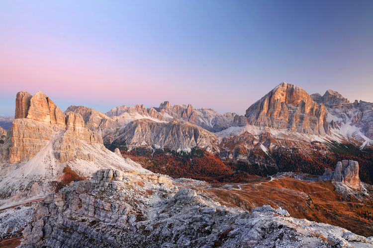 Panoramic view of rocky mountains against sky during sunset