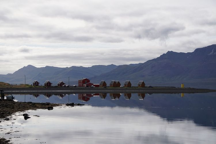 Eskifjordur Beauty In Nature Cloud - Sky Day East Iceland Lake Mountain Mountain Range Nature No People Outdoors Reflection Scenics Sky Tranquil Scene Tranquility Travel Destinations Water Whales