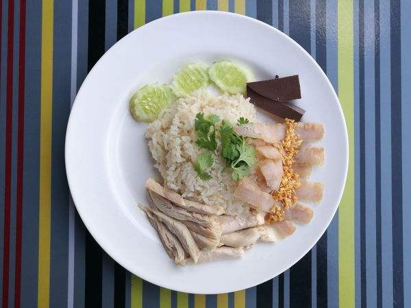 Plate Food Food And Drink High Angle View Table No People Ready-to-eat Breakfast Chickens Vegetables Rice Thailand Ratchaburi