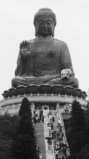 Buddha Buddhism Hong Kong Hongkong Photos Monochrome Lantau Island Big Buddha LantauIsland Hong Kong Style Buddha Statue Pmg_hok