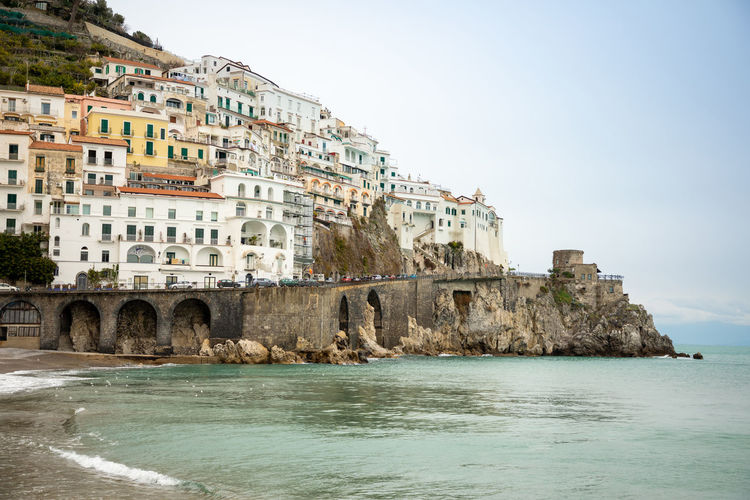 Italy Amalfi  Amalfi Coast Water Architecture Building Exterior Built Structure Sky Sea Building Nature Waterfront City Day No People Travel Destinations Residential District Clear Sky Land Scenics - Nature History Outdoors