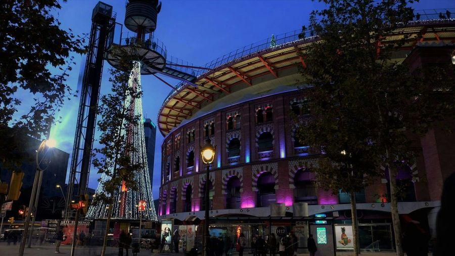 Noche Hora Azul Barcelona Colors Light Luces De Ciudad Navidad
