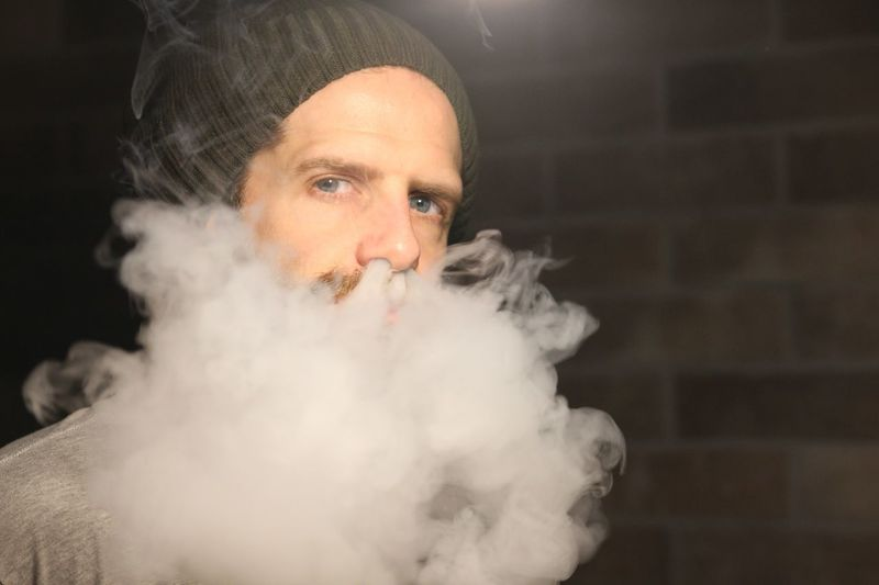 Smoke Ecigar Vape Portrait Smoke - Physical Structure Beard Only Men Smoking - Activity Portrait Steam One Man Only Adult Bad Habit Addiction People Front View Headshot One Person Men Indoors