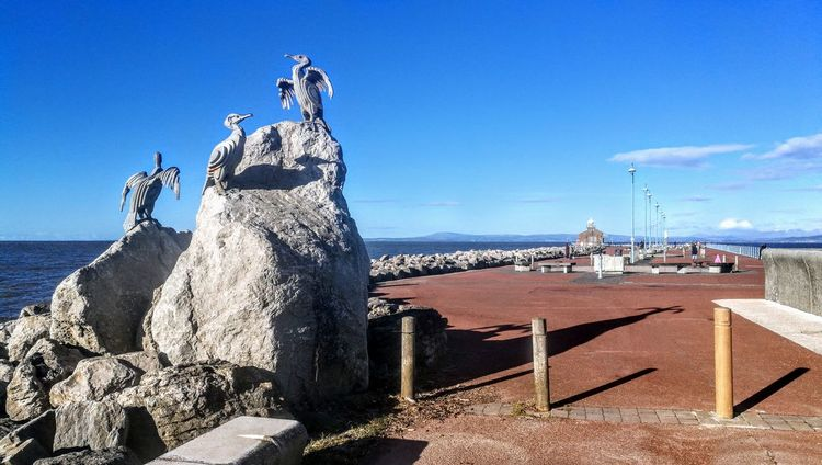 A beautiful morning on the stone pier Morecambe Bay Sunshine Shops Morecambe Pets Walls Promenade The Midland Hotel Days Out Storm Waves Blue Skies + Clouds Landscape