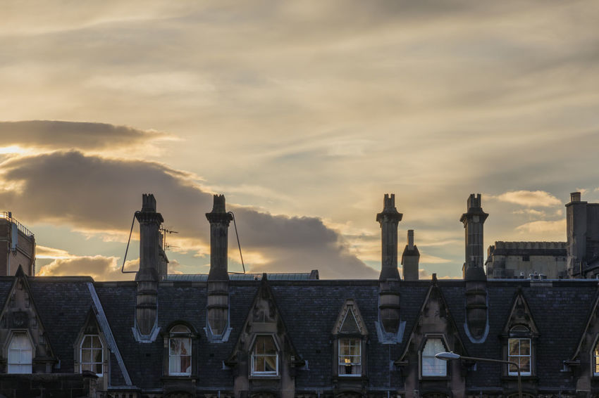 EyeEm Selects Sunset No People City Architecture Outdoors Sky Urban Skyline Cityscape Day Chimneys Edinburgh Scotland Cloud - Sky