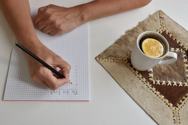 Mug Drink Cup Human Hand Food And Drink One Person Table Hand Refreshment Human Body Part High Angle View Indoors  Real People Holding Pen Freshness Finger Tea Lemon Citrus  To Do List White SLICE