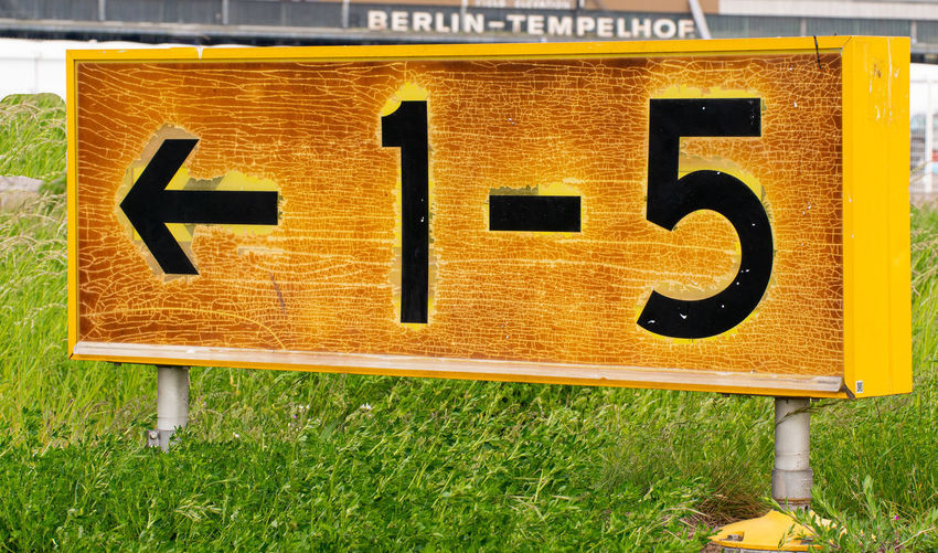 Information sign on field