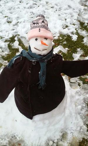 El muleco de nieve bien abrigado