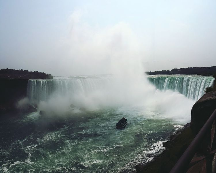 This picture looks majestic and sounds noisy! Niagara Falls Travelling Being A Tourist Tourist Attraction  Water Falls Nature Landscape Waterfall Boat Standing Still