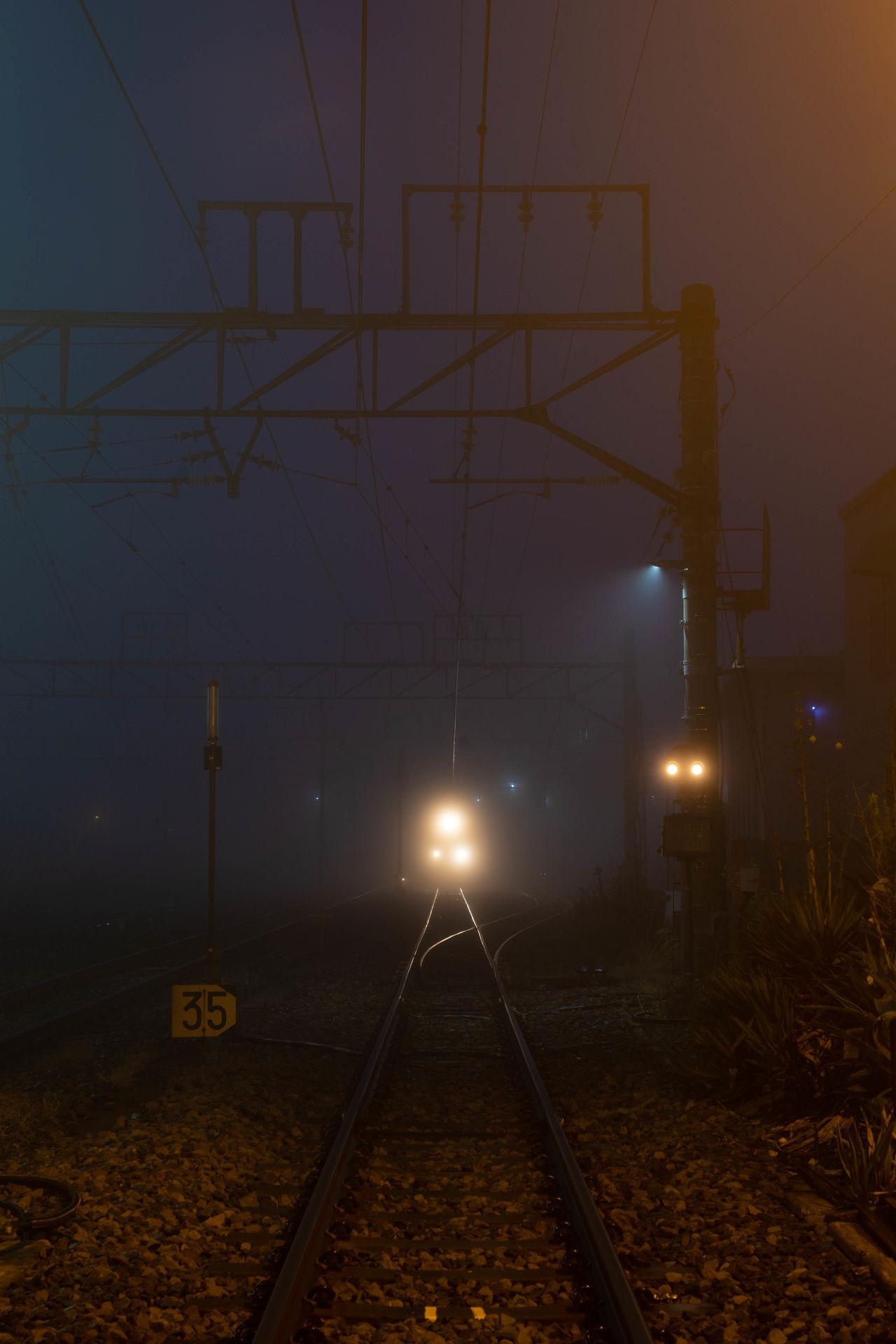 Railroad track at night