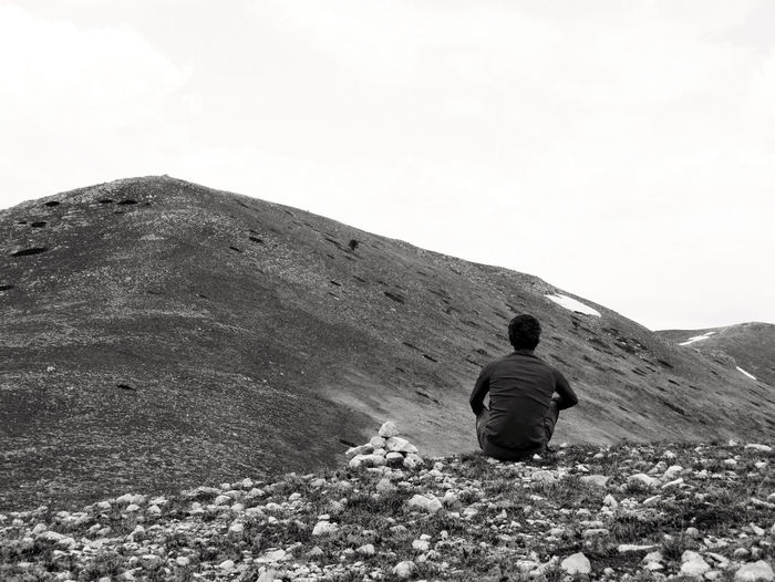 Adventure Black And White Landscape Leisure Activity Looking At View Mountain Range Non-urban Scene One Person Real People Rear View Scenics - Nature Tranquil Scene