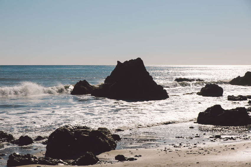 California El Matador Beach Pacific Beach Beauty In Nature Clear Sky Day Horizon Over Water Nature No People Ocean Outdoors Rock - Object Rock Formation Sand Scenics Sea Sky Tranquil Scene Tranquility Water Wave