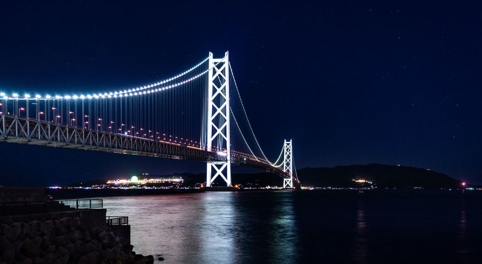Night Water Connection Architecture Bridge Sky Built Structure Illuminated Bridge - Man Made Structure Transportation Engineering River Nature Suspension Bridge Reflection Waterfront City Travel Destinations Outdoors Bay