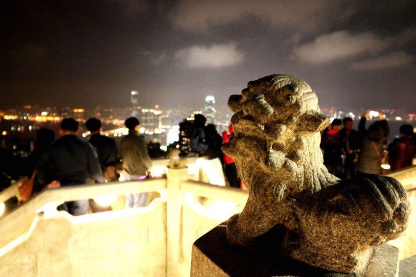 Close-up Statue Sky City Illuminated Sculpture Outdoors No People Day Hong Kong Peak
