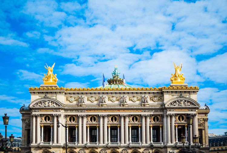 Architectural Column Architecture Blue Built Structure Capital Cities  Cloud Cloud - Sky Cloudy Column Day Façade History Low Angle View No People Opera Garnier Opéra Ornate Outdoors Sky Tourism Travel Destinations Weather