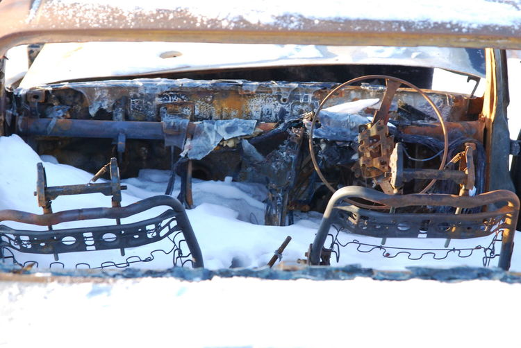 Close-up of abandoned car on snow covered landscape