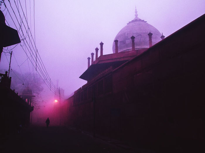 Agra - India India Taj Mahal Building Exterior Architecture Built Structure Sky Building City Silhouette Nature Fog Travel Destinations Street Religion Dusk Dome Incidental People Outdoors Unrecognizable Person Real People
