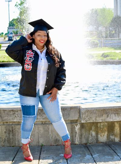 Sorority Water Education Portrait University Student Day Graduation Happiness Young Adult Full Length One Person Young Women Delta Sigma Theta 1glamourstudios Msnikkiblanco HBCU Jcsu