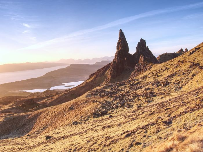Morning view of old man of storr rocks formation.. the most photographed wonders in the scotland.