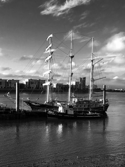 Graceful Lines ... Tall Ship Moored on the River Thames LONDON❤ Cloud - Sky EyeEm Selects EyeEm Best Shots EyeEm Best Shots - Black + White Blackandwhite